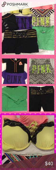 VS PINK BUNDLE VS PINK 8 piece bundle includes two crop tops ( one black one purple) one long sleeve shirt( green), yoga pants( black), a tank top, two  bathing suit tops and one bottom that matches both tops all size xs PINK Victoria's Secret Tops