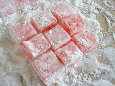Any Flavor Turkish Delight - This appealing candy is easy to make at home. Rosewater can be found at specialty food stores. When the sugar syrup boils, coat the inside of the saucepan with a brush dipped in water to prevent sugar crystals from forming. Candy Recipes, Sweet Recipes, Dessert Recipes, Turkish Recipes, Romanian Recipes, Scottish Recipes, Turkish Taffy Recipe, Homemade Turkish Delight, Gastronomia