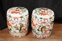 Photo of Pair Chinese Wucai Porcleain Stools Garden Seats Foo Dogs Pottery