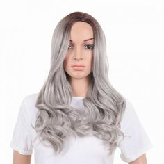 long grey sliver big curve curly wigs for women middle parting for sale Cheap Lace Front Wigs, Cheap Wigs, Curly Wigs, Long Curly Hair, Wig Styles, Curly Hair Styles, How To Wear A Wig, Wigs Online, Halloween Hair