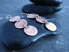 Items similar to Triple Copper Circular Earrings with Silver Accents - Upcycled Recycled Repurposed on Etsy Repurposed, Heart Ring, Upcycle, Copper, Personalized Items, Earrings, Silver, Etsy, Jewelry
