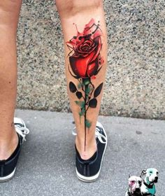 Rose Tattoo on Leg by Dynoz Art