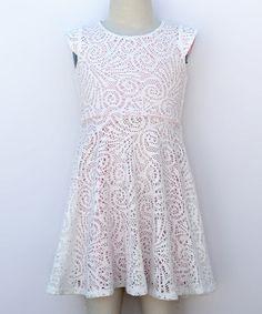 Ivory & Pink Lace Skater Dress -  #zulilyfinds