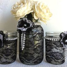 DIY Mason Jar Craft Ideas- Black Lace - Click Pin for 26 Holiday Craft Ideas (Love this idea, have to do this!)