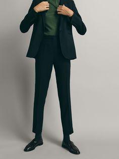 ecfeeb1420b93 Pantalón traje lana marino estructura slim fit