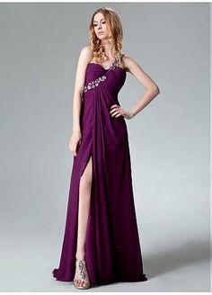 Slit Floor-length Evening Dress