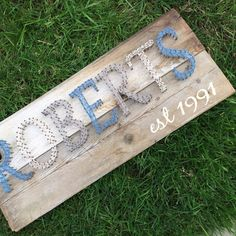 """Made to Order - Medium - Nail and String Art - Name or Word with """"est"""" Year/Date - Custom"""