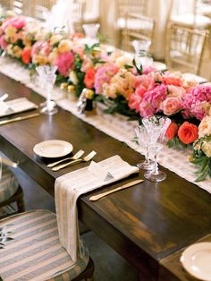 Centerpiece -- Rows of low packed pink blooms! Re-pin if you like. Via Inweddingdress.com #wedding #centerpiece