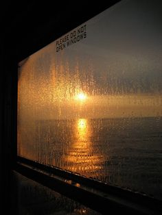 Window + rain + sunset + water = beauty
