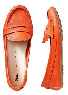 Bright orange loafers http://rstyle.me/~1i0AW