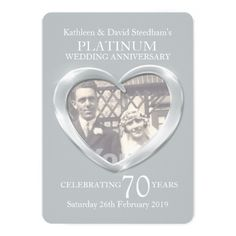 Shop Platinum wedding heart photo 70 years party invite created by Mylittleeden. Heart Wedding Invitations, Wedding Anniversary Invitations, 70th Anniversary, Photo Invitations, Wedding Invitation Design, Custom Invitations, Bridal Shower Cards, Platinum Wedding, Photo Heart