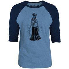Mintage Victorian Style 3/4-Sleeve Raglan Baseball T-Shirt (Cobalt Marle / Navy)