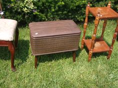 SOLD - This is the cutest little bitty mid-century hamper-type-thing on legs - TomeTraders.com
