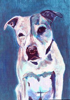 Staffordshire bull terrier ,dog wallart print, blue staffie Portrait, blue Print of acrylic staffy dog painting, staffie… #dogs #etsy #art