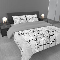 Dekbedovertrek Sweet Dreams | sierlijke tekst | wit/grijs— Dekbedovertrek.nl