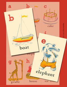 Vintage Alphabet Flash Cards Digital Collage Sheets - Printable Download - Cute Graphics - Three Sheets. $4.25, via Etsy.