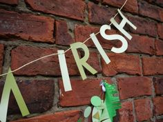 Close-up of our KISS ME I'M IRISH letter banner, part of St.Patrick's day party pack!