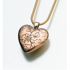 Floral Bronze Heart Urn Necklace - Delicate bronze floral engraved heart urn pendant. An affordable choice and good way for families to create a small memorial or who plan to scatter or spread the ashes.