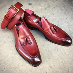 "GAZIANO & GIRLING /  Get out into the sun and wear some loafers! Like our ""Corniche"" in vintage cherry. Made to Order with a matching belt and touch of patina."
