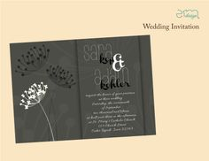 Black and white simple floral wedding invitation by Emdesign #BlackWhiteWedding #EmDesignia