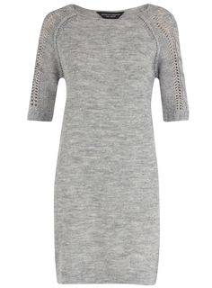 Grey knitted cable sleeve dress