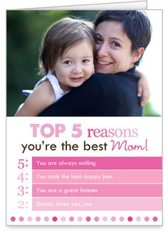 Top Reasons Mom 5x7 Folded Card by Erin Condren