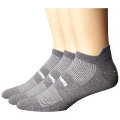 Feetures High Performance Ultra Light No Show Tab 3-Pair Pack (Heather... (£29) ❤ liked on Polyvore featuring intimates, hosiery, socks, feetures socks, wicking socks, moisture wicking socks, seamless socks and breathable socks