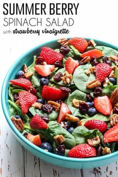 A staple of the season, this healthy Summer Berry Spinach Salad uses a simple strawberry vinaigrette for a paleo and vegan-friendly salad dish!