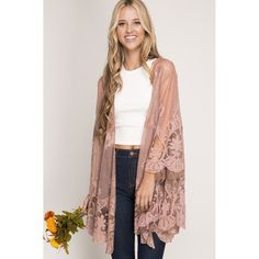 "- 3/4 sleeve lace kimono - 70% cotton, 30% polyester, - Imported - Standard sizing Model: - 5'9"" - Wearing size small Made In: China Shipped From: United States Lead Time: 1 - 2 Days"