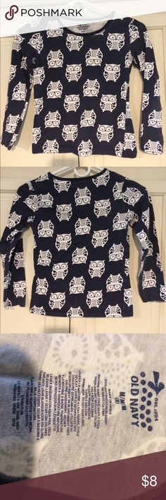 Girls Old Navy Long Sleeve Shirt M (8) Owl Design Girls Old Navy Long Sleeve Shirt M (8) Owl Design Navy Blue and White Old Navy Shirts & Tops Tees - Long Sleeve