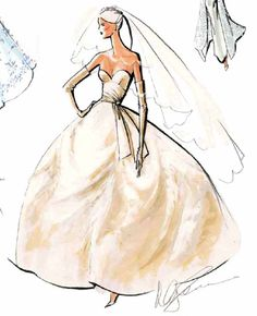 A romantic sweetheart bodice is dramatically sashed to one side in this design sketch of an Oleg Cassini Platinum gown.