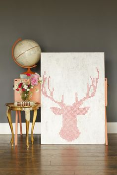 Cross-Stitch Painting DIY for HGTV Design Happens - A Ruffled Life