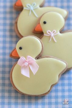Baby Duck Baby Shower Decorated Cookies made with brown sugar