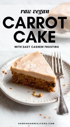 Carrot Cake Cheesecake, Vegan Cheesecake, Cheesecake Recipes, Healthy Vegan Desserts, Raw Desserts, Raw Food Recipes, Freezer Recipes, Freezer Cooking, Vegan Meals