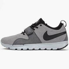 huge selection of 0976d 58a2f Nike SB Trainerendor L Mens Grey Black Skateboarding Shoes Size 10