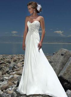 USD$222.28 - Simple Strapless Beaded Chiffon A-line Destination Wedding Dress - www.weddingdressbraw.com