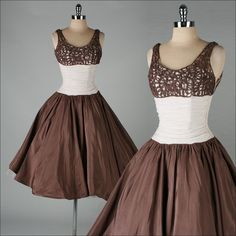 vintage 1950s dress . brown windowpane bodice par millstreetvintage, $225,00