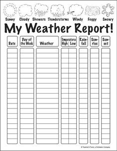 My Weather Report Winter is full of wild weather, and your kids will enjoy flexing their science and observation skills with this printable sheet. 2nd Grade Worksheets, Science Worksheets, Science Lessons, Science Activities, Weather Activities For Kids, Homeschool Worksheets, Free Worksheets, Science Experiments, Homeschooling 2nd Grade