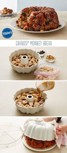 Grands! Monkey Bread is a sweet, gooey, irresistible treat. Oozing with warm caramel and cinnamon, this easy recipe is made with Pillsbury biscuits, walnuts and raisins. Perfect to make for special occasions like Thanksgiving or Christmas morning holidays!