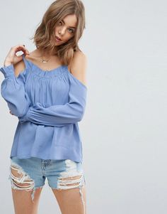 ASOS Cold Shoulder Top with Low Back & Ruffle Edge - Blue