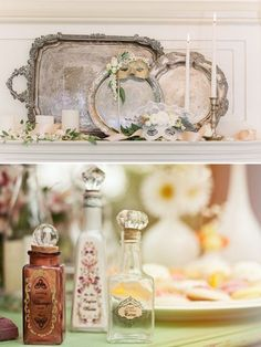 silver platters, candles, masks
