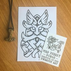 "244 Likes, 1 Comments - Brokk (@madferretforge) on Instagram: ""Ancestor Mask. Available to tattoo, Manchester UK. #warrior #Odin #Thor #dotwork #celtic…"""