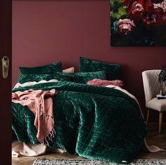 Home Republic - York Quilted Quilt Cover - Bedroom - Quilt Covers & Coverlets - Home Republic - Adairs Online Pink Bedroom Walls, Bedroom Green, Pink Walls, Dream Bedroom, Home Bedroom, Bedroom Decor, Design Bedroom, Green Bedding, Velvet Bedroom