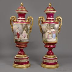 An Important and Extremely Large Pair of Magenta Ground Vienna#Porcelain Exhibition Vases - #adrianalan