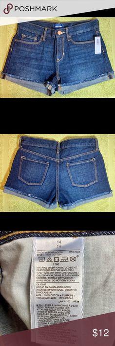 ef7a7371 Old Navy Girls Adjustable Denim Shorts NWT 14 These brand new dark wash  denim shorts are