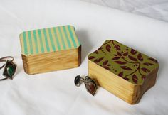 Shabby Chic Hand Painted Wood Trinket Jewelry Gift Box by KateBraque on Etsy