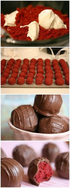Red Velvet Cake Balls- you have to click a few times to get to the actual directions. In a nutshell, make the cake mix, cool, and crumble into a bowl. Mix or 'smoosh' it together with the frosting and roll into balls, which you also need to let get very cool. Dip those into melted chocolate and you are finished!