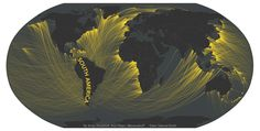 Maps of What's Across the Horizon From the World's Beaches | And those origin lines lead to the most direct landmass on any given continent.  | Credit: Andy Woodruff | From Wired.com
