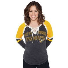 Women's Pittsburgh Penguins Touch by Alyssa Milano Black Backshot Lace-Up Long Sleeve T-Shirt