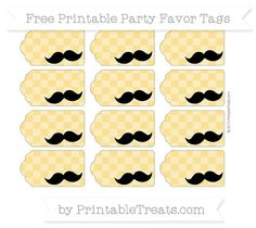 Free Saffron Yellow Checker Pattern Mustache Party Favor Tags